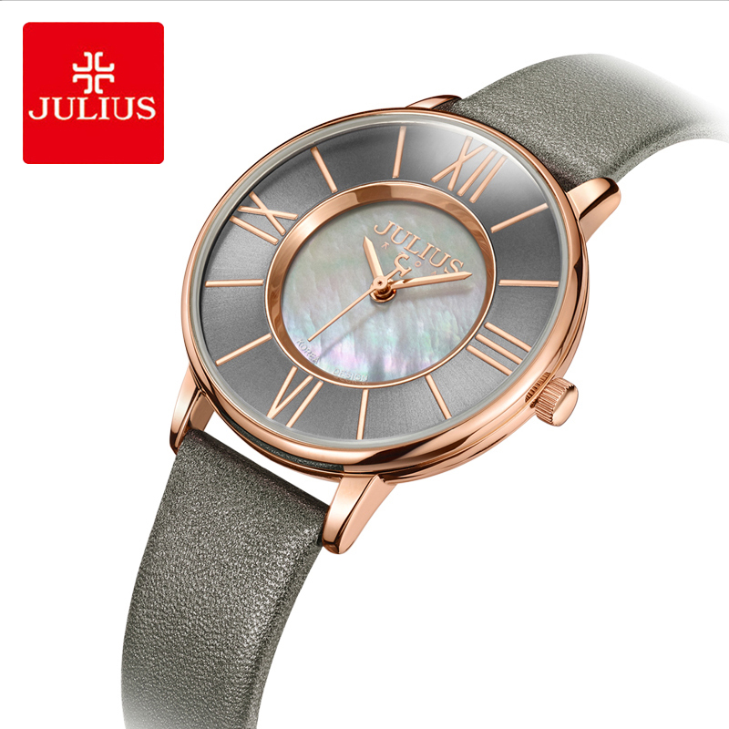 Julius Retro Roman Numerals Fritillaria Dial Leather Watch Woman Waterproof Quartz Wristwatches Female Dress Watches Reloj Mujer roman numerals dial artificial leather watch