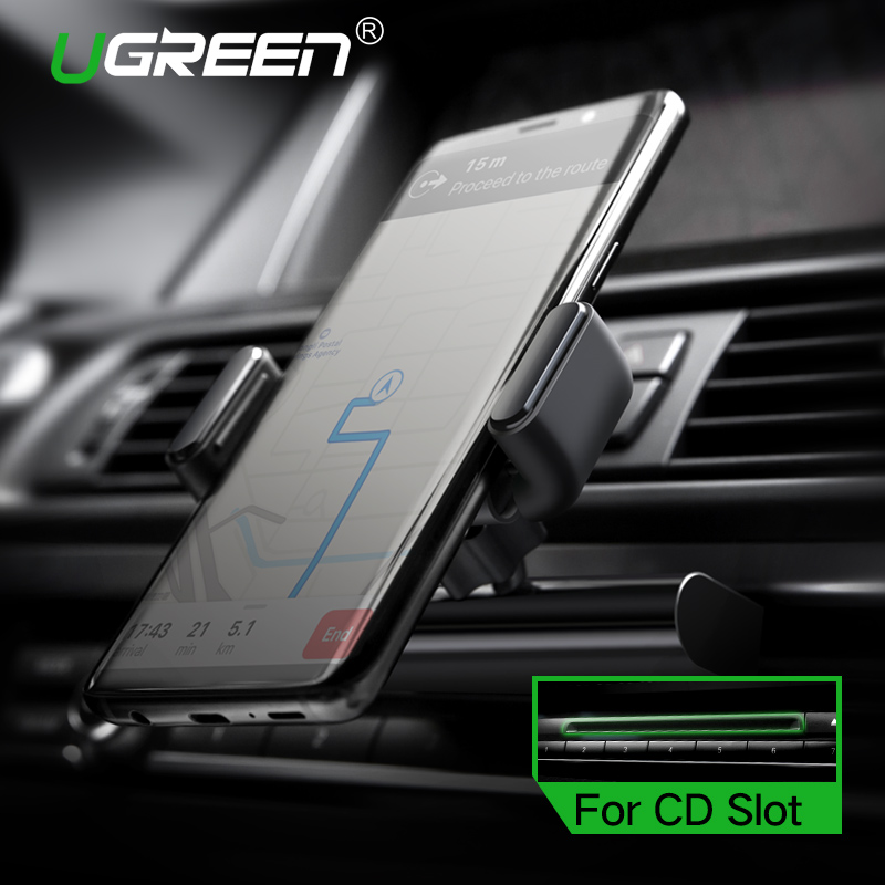 Ugreen Car Phone Mount CD Slot Car Phone Holder for iPhone 8 Magnetic Holder Stand Clip Cell Phone Holder for Huawei Tablet GPS