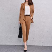 Модный костюм дамы новый коричневый Для женщин брюки костюм женские офисные форма женская зимняя формальный костюм Блейзер индивидуальный