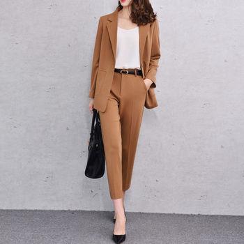 Fashionable ladies suit  New Brown Women Pant Suit Female Office Uniform Ladies Winter Formal Suit blazer Custom Made