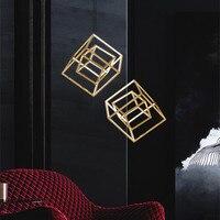 Nordic чердак геометрический площади подвесной светильник Книги по искусству золотой обеденный Гостиная висит свет Hotel вилла светильники