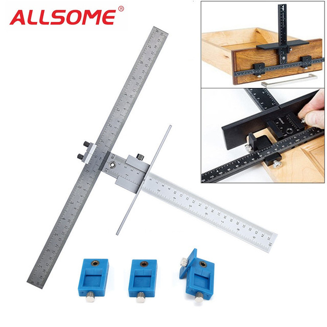 ALLSOME English/Metric Cabinet Hardware Jig Drawer Pull Jig Drill Guide Wood Drilling Dowelling Hole Jig True Position Tools