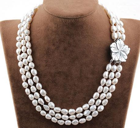 Multi Strad Necklace 3Rows Natural Pearl High Quality Beaded Necklace With Shell Flower Clasp.Handmade Wedding Pearl Jewelry.