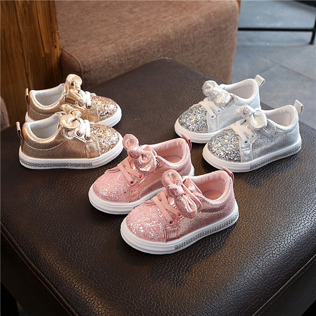 Children BabyGirls Boys Bling Sequins Bowknot Crystal Run Sport Sneakers Shoes