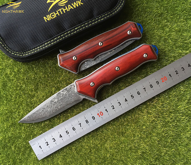 NIGHTHAWK ST1502 Flipper folding knife Damascus steel blade Wood handle camping hunting outdoor survival pocket Kitchen knives nighthawk st1502 flipper folding knife d2 blade g10 steel handle camping hunting outdoor survival pocket kitchen knives edc