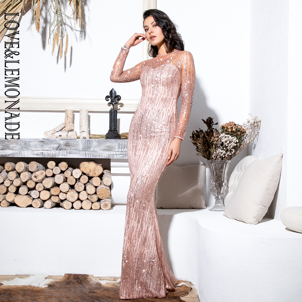 LOVE&LEMONADE Bare Gold Round Neck Long Sleeve Perspective Back Bodycon Glitter Glued Material Maix Dress LM6496-9 LM6496-9 GOLD