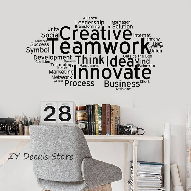 Creative Teamwork Vinyl Wall Decal Team Work Office Art Decor Stickers  Mural Innovate Inspirational Quote Wall