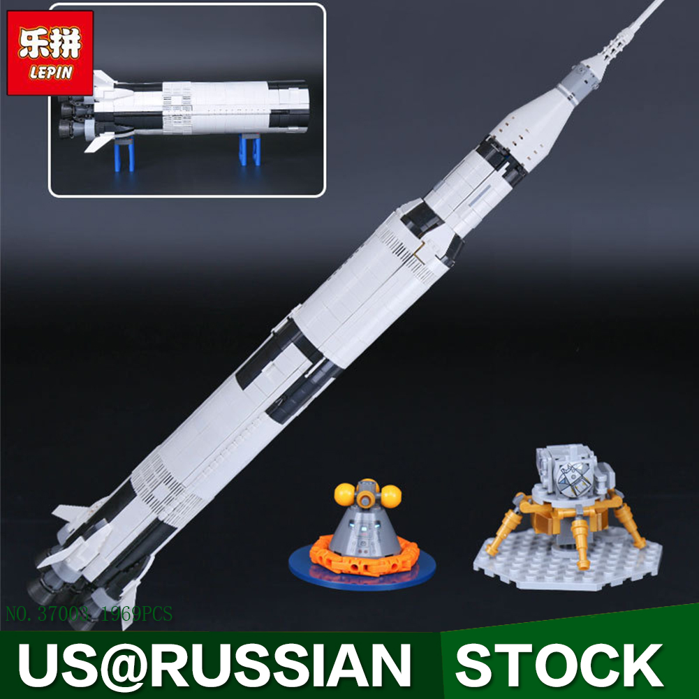 1969Pcs Lepin 37003 Creative Series The Apollo Saturn V Launch Vehicle Set Children Building Blocks Bricks Educational Toy 21309 1969pcs apollo saturn v model building blocks 37003 assemble children kid toy bricks compatible with lego