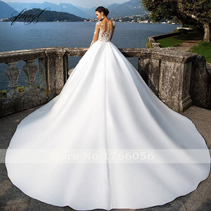 Image 2 - Fmogl Vestido De Noiva Long Sleeve Vintage Wedding Dresses 2020 Sexy Appliques Chapel Train Matte Satin Lace Bride Gowns