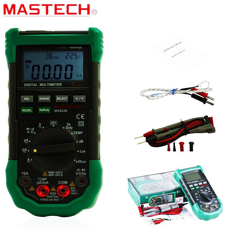 Mastech MS8229 5-in-1 Auto-Range Multi-functional Digital Multimeter AAA Battery Power Digital Multimeter Auto Range Tester peakmeter ms8229 auto range 5 in 1 multifunctional handheld 2 8 auto digital multimeter