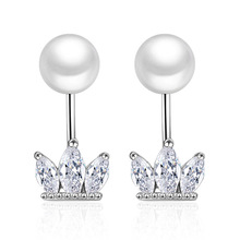 Women Stud Earrings Silver Plated White Cubic Zirconia Imperial Crown Simulated Pearl Earrings for Women