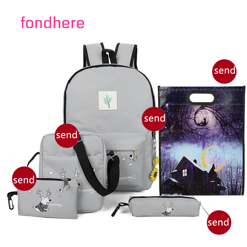fondhere 5 Pcs/set Women Backpack Set Cute Deer Printing School Bag For Teenager Girls Canvas Backpacks Set Rucksack yasicaidi 4pcs women canvas backpack cute cartoonprinting backpacks school backpack for teenager girl casual travel bag rucksack