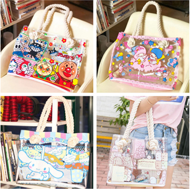 c8c013e7728f Cute Cartoon Hello Kitty My Meloday Little Twin Stars Clear Transparent Shoulder  Bag Women Tote Handbag PVC Waterproof Beach Ba
