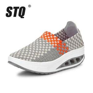 Image 2 - Stq 2020 Herfst Vrouwen Sneakers Platte Geweven Schoenen Vrouwen Platform Sneakers Schoenen Dames Wig Schoenen Vrouwelijke Wandelschoenen 1588