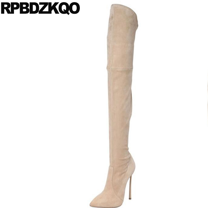 Celebrity Brand Over The Knee Long Shoes High Heel Sheepskin Pointed Toe Slim Sexy Fetish Extreme Suede Thigh Women Boots high heel real leather pointy suede slim thigh women boots stretch velvet over the knee sexy extreme stiletto shoes sheepskin