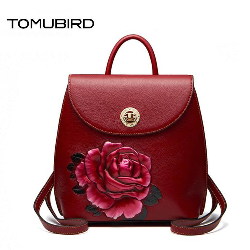 TOMUBIRD Superior cowhide Three-dimensional Embossed famous brand women bag luxury genuine leather backpack women bags tote beep brand superior cowhide fashioncasual luxury genuine leather bag tote women leather shoulder bag women s bag