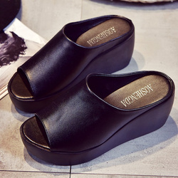2019 Fashion Women Sandals Platform Wedge PU Leather Mules Open Toe Slides Shoes Summer Large Size Solid Black White Sandals