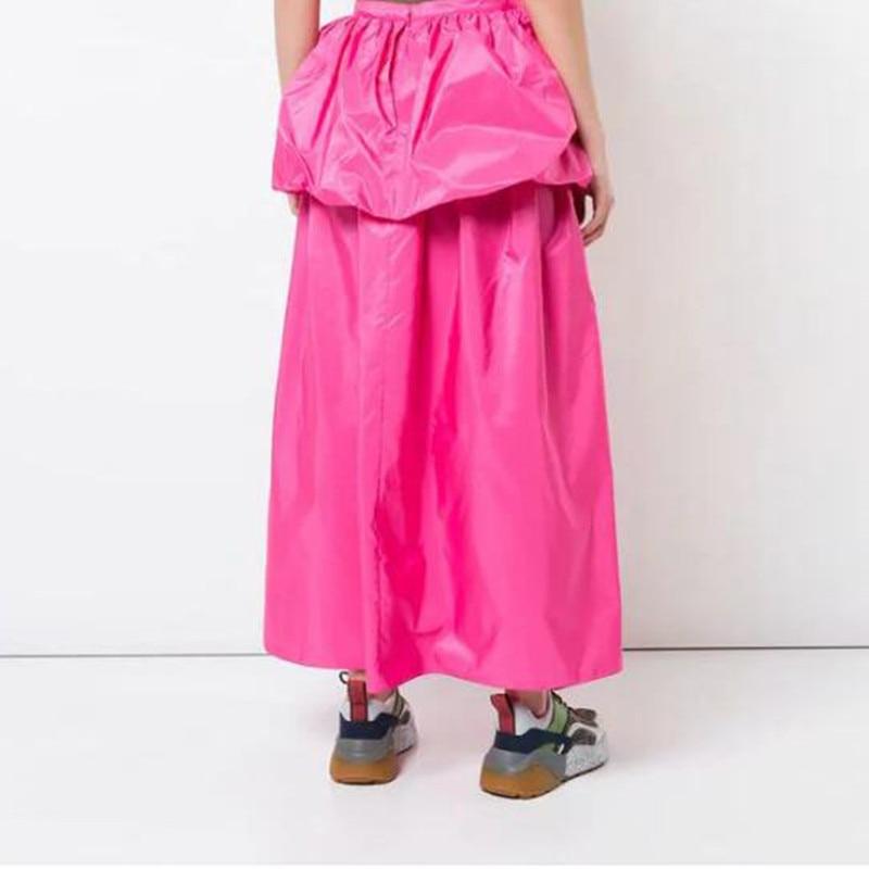 Rose Señoras Calidad De Moda Longitud Tobillo Red Raso Elegante 2019 Falda Mujeres Nuevo Cualquier Color Estilo Las Alta wqOaaU