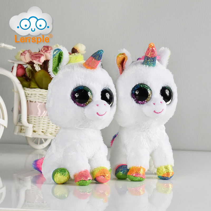 Lensple Ty Beanie Boos 15cm Big Eyes White Unicorn Horse with Rainbow Hair Elephant Goat Plush Animal Toy Best Gifts For Kids мягкие игрушки ty beanie babies слоненок sahara 15 см
