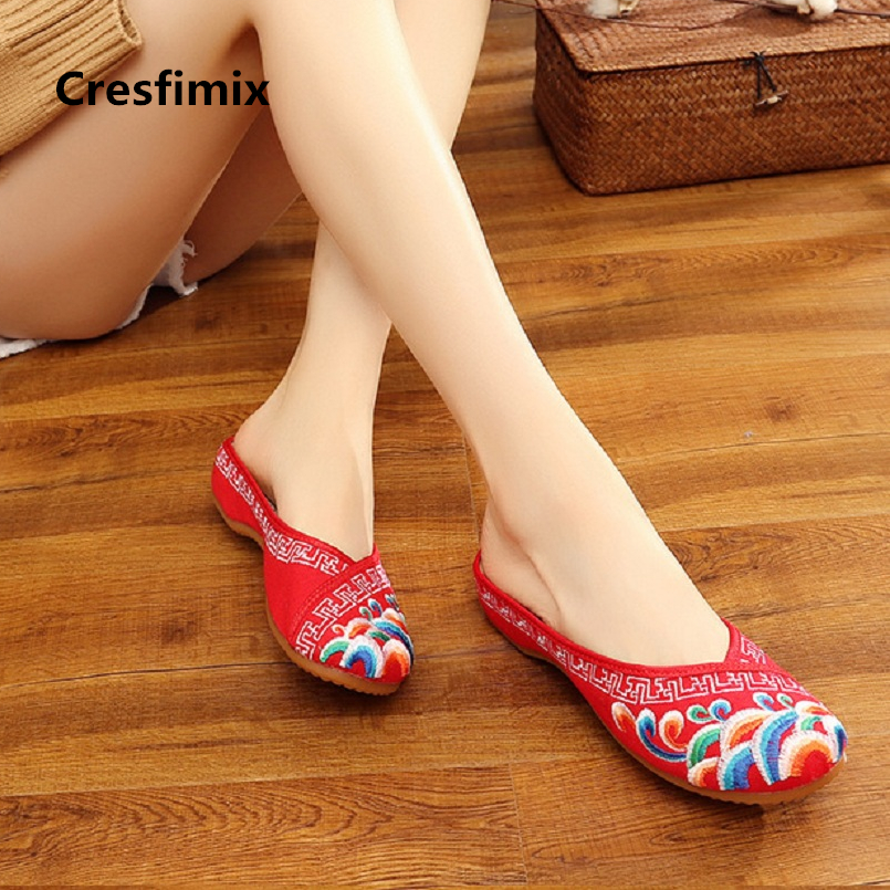 5320b627276 Cresfimix women fashion embroidery home flat shoes lady cute outside spring    summer slip on shoes zapatos de mujer a2205 - aliexpress.com - imall.com