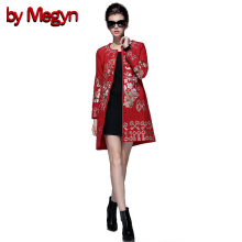 by Megyn 2017 Autumn Winter O-Neck Full Sleeve Embroidered Women Coat Muslim Style Women Overcoat Jacket Plus Size XXXL D063