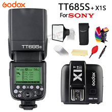 Godox TT685S Flash Speedlite for Sony Cameras A77II A7RII A7R A58 A99 Camera With 2.4G HSS 1/8000s TTL + 15*17cm softbox X1T-S