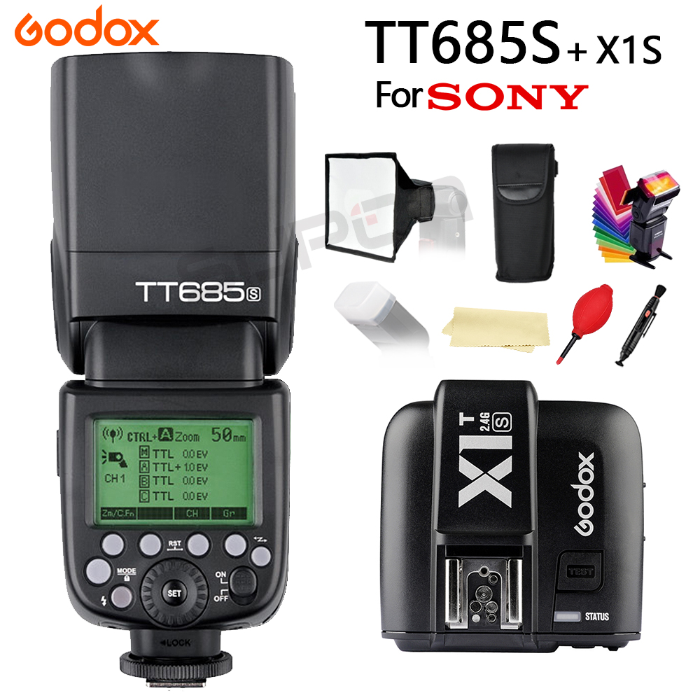 Godox TT685S Flash Speedlite per Fotocamere Sony A77II A7RII A7R A58 A99 Macchina Fotografica Con 2.4g HSS 1/8000 s TTL + 15*17 cm softbox + X1T-S