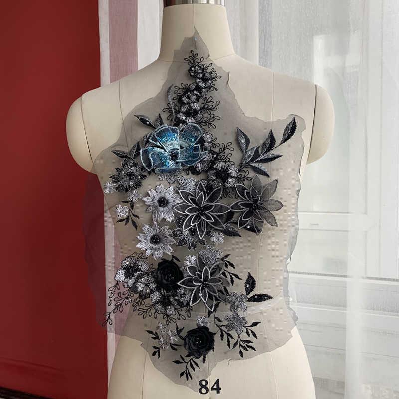 חם על עלי אקספרס ואגלי תחרה תיקון, פאייטים תחרה שחור נחמד! 2019 3d appliqued בצבע רקמת תיקוני שחור, כחול!