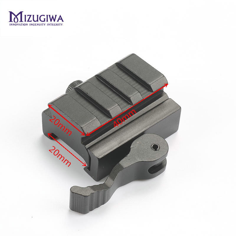 "Half Inch 0.5"" Low Profile Riser Quick Release Block Picatinny Rail Mount Adapter 20mm Weave Picatinny Hunting Caza Bipod Chasse"