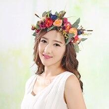 Flower Hair Wreath Simulation Garland Wedding Headdress Tiara Floral Bridal Hair Accessories Headband Fabric Headpiece Jewelry