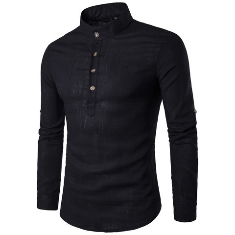 ZOGAA Men Long Sleeve Shirts Men Business Undershirt Men Stand Collar Shirts Male Slim Pure Color Shirts 2019 New Lahore