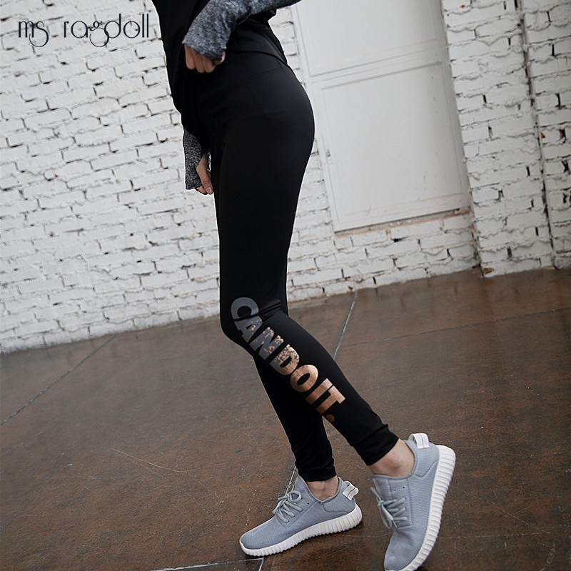 Cool Gold Letter Print   Leggings   Women Push Up Fitness Leggins Mujer High Waist Elastic Pants Compression Sportwear Trousers