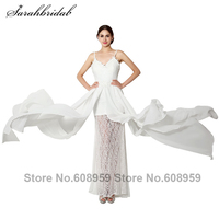 2015 New Lace Applique Chiffon Long Boho Wedding Dresses Robe Mariage Elegant White Floor Length Bridal