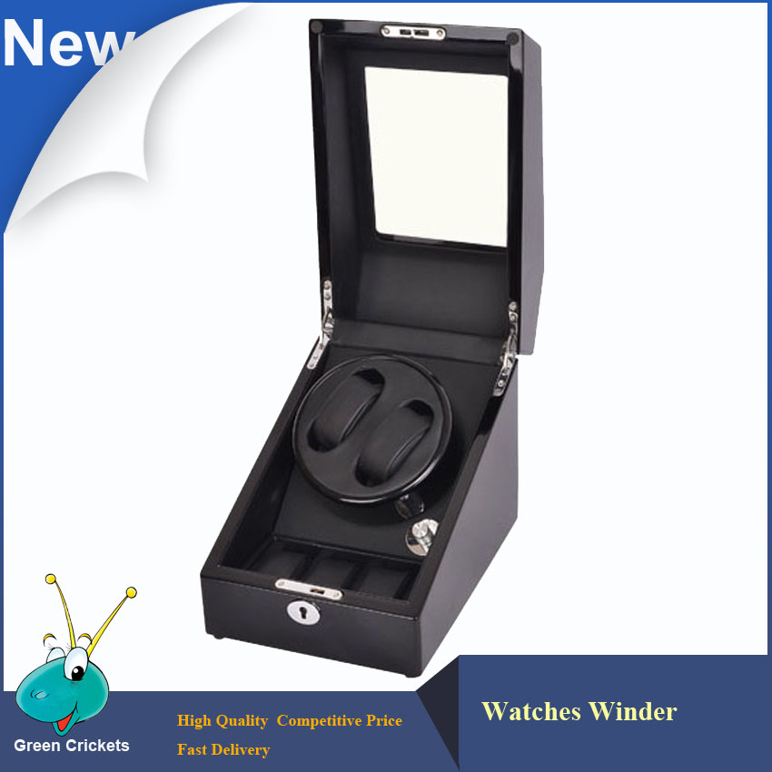 Latest Luxury Black High Glossy Surface line with PU Leather Watches Winder,5 Mode Automatic Watch Winder 2+3 цена и фото