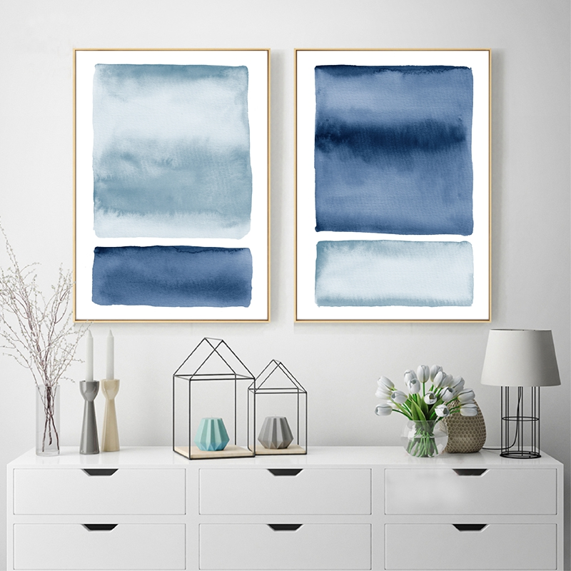 Blue Watercolor Abstract Painting Indigo Wall Pictures Ocean Coastal Wall Art Canvas Print Nordic Posters Living Room Wall Decor
