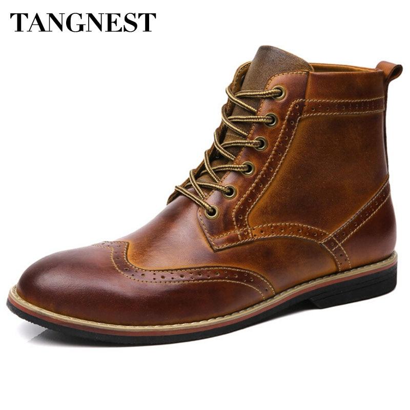 Tangnest бренд Для Мужчин's Баллок сапоги из натуральной кожи зимние модные Мужские ботинки ретро вырез человек повседневная обувь размер 38-45 ...