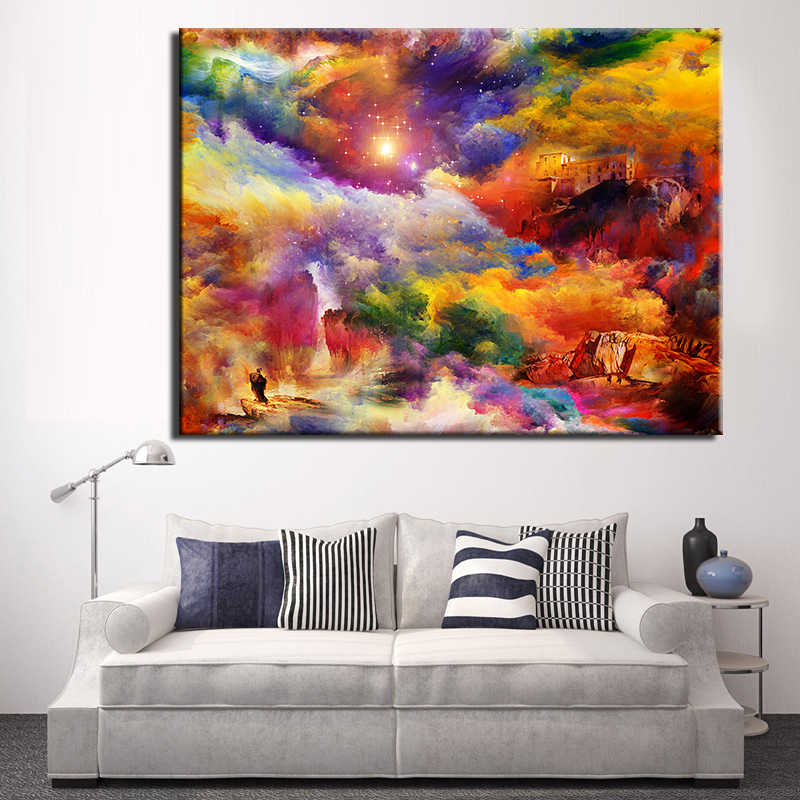 Wall Pictures fresh look colorful space light canvas Modern frameless cuadros home decor painting on Canvas Posters and Prints