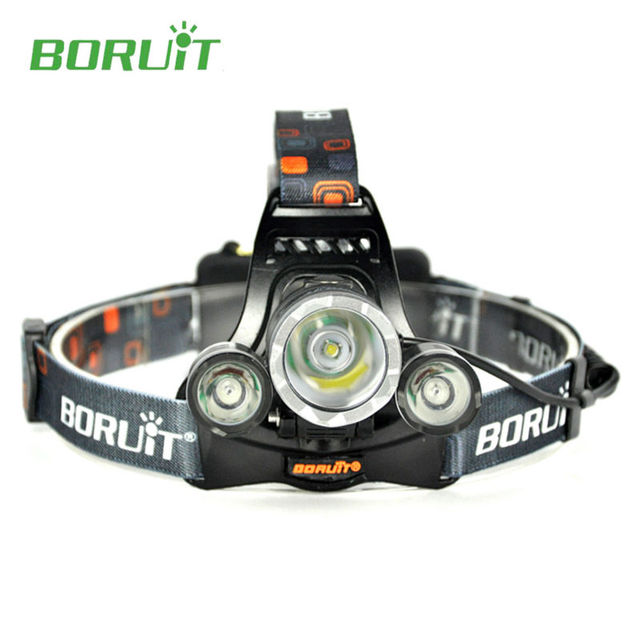 Boruit RJ-3000 High Power Head Flashlight 3x T6 Led Headlight 5000 Lumens 4 Modes  with Charger for Night Patrol Mining Camping