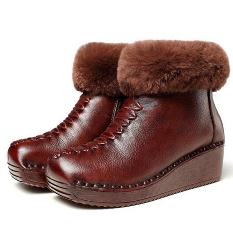 Nieve Invierno Cuero Nuevo Decoración Real Cuñas 100 De brown Mujer Noble Plana Botas Natural Genuino Piel 2019 Zapatos Negro YS67PPnwq