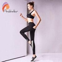 Andzhelika 2017 Nouvelles Femmes Pantalon de Yoga Fitness Sport Leggings de Course Pantalon De Compression Respirant Top Survêtement Collants S-XL