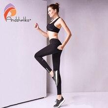 Andzhelika 2018 جديد إمرأة اليوغا السراويل اللياقة البدنية الرياضة طماق تشغيل السراويل ضغط تنفس العلوي رياضية الجوارب S XL