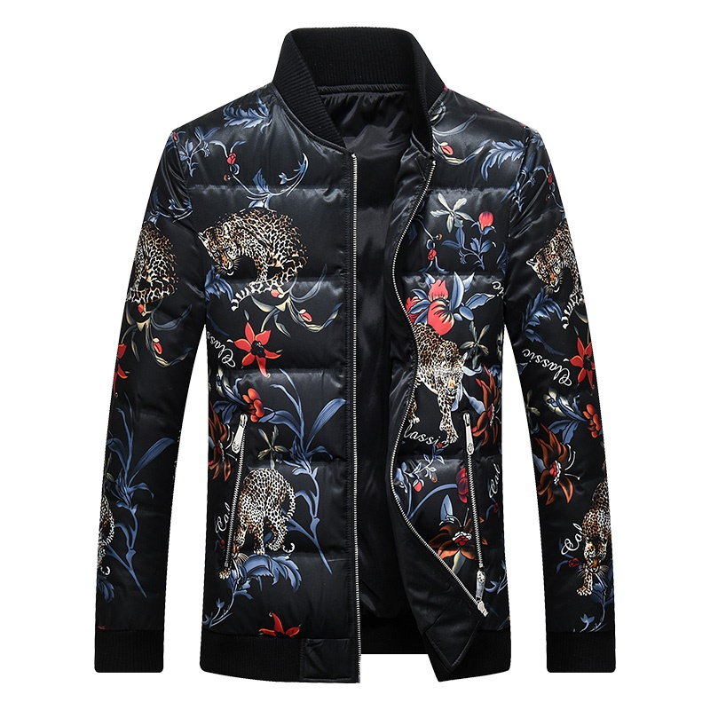 Men's Duck   Down   Jacket Print Warm   Down     Coat   for Men Male