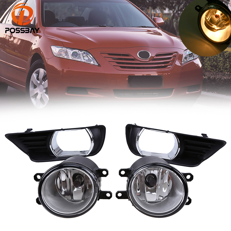 POSSBAY Front Bumper Left Right Fog Lights Lamp H11 Bulbs Switch Foglgiht Grilles for Toyota Camry XV40 2007-2009 Pre-facelift 2 x grilles left