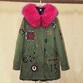 Winter Jacket Women 2016 Women's Army Green Large Raccoon Fur Collar Down Parka Coat Outwear 2 in 1 Detachable Liner Brand Style