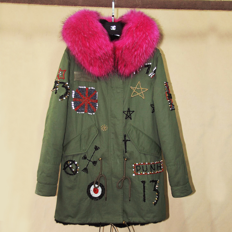 Winter Jacket Women 2017 Women's Army Green Large Raccoon Fur Collar Down Parka Coat Outwear 2 in 1 Detachable Liner Brand Style new 2017 jott jacket winter women parka long coat large real raccoon fur collar faux rabbit fur liner army green casual outwear