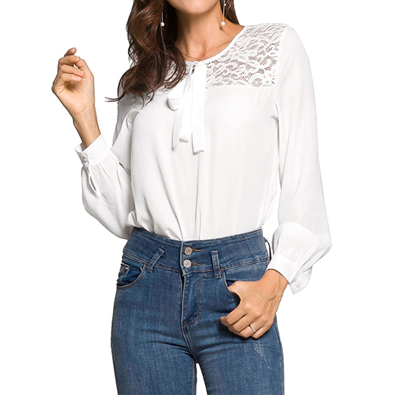 Women Blouses Elegant Lace O-Neck Feminine Long Sleeve Blouse Shirt Chiffon Autumn Womens Tops And Blouses Ladies Top Female