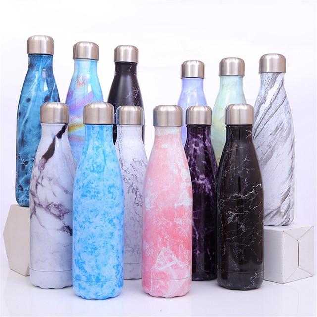 Bouteille d'eau florale sans BPA en acier inoxydable