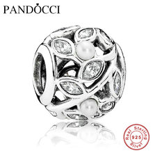 6a1c80563 Fits Pandora Charms Bracelet 100% 925 Sterling Silver Beads Luminous Leaves  Charm with Pearl &