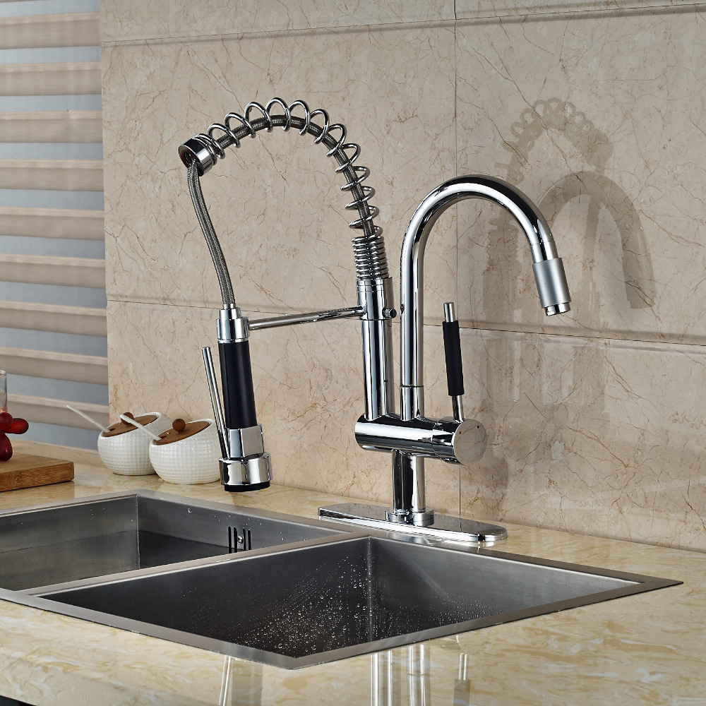 Chrome Brass Kitchen Faucet Spring 2 Spout Swivel Spout Mixer Tap with Hole Cover Plate good quality wholesale and retail chrome finished pull out spring kitchen faucet swivel spout vessel sink mixer tap lk 9907
