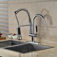 Хром латунь кухонный Faucet весна 2 носик поворотный носик смеситель с отверстия крышка